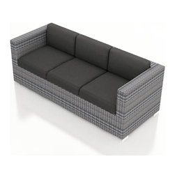 Harmonia Living - Urbana Modern Wicker Sofa, Weathered Stone Wicker, Charcoal Cushions - The Harmonia Living Urbana Outdoor Wicker Modern Sofa with Gray Sunbrella cushions (SKU HL-URBNWS-S-CC) features clean lines, premium synthetic wicker and brushed aluminum feet, giving it a fantastic modern look. Unlike outdoor rattan sofa sets, the High-Density Polyethylene (HDPE) wicker in this one is infused with a Weathered Stone color and UV treatment, creating long-lasting color that is fade resistant and cannot be stripped off. Underneath the outdoor wicker is a sturdy, thick-gauged aluminum frame that is powder coated, making it incredibly corrosion resistant. The seats are reinforced to prevent excessive wicker stretching, ensuring you and your guests can sit securely each time. This modern outdoor sofa includes seat and back cushions covered in fade- and mildew-resistant Sunbrella fabric.