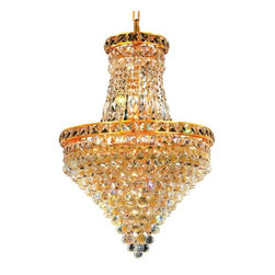 """PWG Lighting / Lighting By Pecaso - Karci 12-Light 18"""" Crystal Chandelier 2149D18G-EC - The Karci Collection is as serene as its namesake. Layers of cascading crystal form this series of Crystal Chandeliers and Crystal Flush Mounts. Quietly and graceful this design to work in a wide range of decorating styles."""