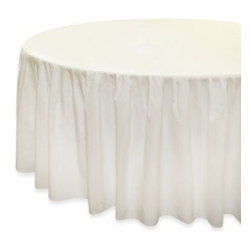 Eugenia Linens - Eugenia Linens Everyday Banquet Solutions Fitted Round Shirred Tablecloth (Set o - Single-unit elastic fitted and shirred tablecloth reduces set-up time and is perfect for indoor or outdoor events. The elastic fitted underside eliminates unsightly clips, pins, Velcro, staples and stays in place.