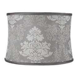 """Lamps Plus - Traditional Gray Acanthus Drum Lamp Shade 15x16x11 (Spider) - This charming drum shade is crafted from two different gray hues and white threading that are all weaved into an acanthus leaf design. Dark puff trim provides a frame for the design and a chrome finish spider fitter allows you to easily add this shade to any existing table lamp in your home. The correct size harp and finial are included free with this purchase. Softback drum lamp shade. Dark gray with woven acanthus leaves. Cotton poly blend fabric. White threaded details with puff trim. White liner. Chrome spider fitter. 15"""" across the top. 16"""" across the bottom. 11"""" on the slant.  Softback drum lamp shade.  Dark gray with woven acanthus leaves.  Cotton poly blend fabric.  White threaded details with puff trim.  White liner.  Chrome spider fitter.  15"""" across the top.  16"""" across the bottom.  11"""" on the slant."""