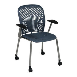 Space - Deluxe SpaceFlex Visitors Chair in Blue- Set - Thanks to a flexible seat and back designed to adjust to each user, this visitors chair will be a comfortable and modern addition to any office decor. Finished in blue with a tubular steel frame and a castered base, the chair has padded arms for added comfort and is sold in a set of two. Set of 2. Self adjusting SpaceFlex seat and back. Platinum  finish frame with Black arms and casters. Seat: 18 in. W x 18 in. D. Back: 18 in. W x 19 in. H. 25.25 in. W x 22.5 in. L x 35 in. H (33 lbs.)