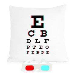 Heather Lins Home 3-D Eye Chart Pillow - I'll declare it: Eye Charts are the New Vintage Subway Signs! To really latch onto multiple zeitgeists, why not make it a 3-D Eye Chart Pillow?