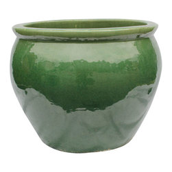 """20"""" Ceramic Oriental Fishbowl Planter in Jade Green - Jade green in color and classic in shape these quality Chinese ceramic fishbowls are glazed inside and out for years of enjoyment.  Use on the deck, garden, or in in your home to complement your household plants. Large bowls of this size are difficult to produce and each one is hand made in rich organic Asian glazes. Choose from jade green crackle glaze or bird egg brown for a color accent in your home.These are ready to use to house a tree, large plant or use with a glass top as a table. We also suggest using a wooden stand to enhance this classic Asian bowl."""