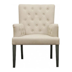 Wholesale Interiors Beige Linen Dining Chair - This creamy linen dining chair would really jazz up a dining room.