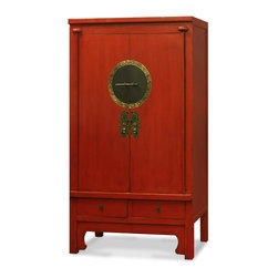 "China Furniture and Arts - Elmwood Ming Style Armoire - Inspired by ancient Chinese wedding cabinets, this armoire adds a contemporary twist to a Chinese classic with hand-rubbed red finish and two drawers for additional storage. Designed in the Ming esthetic, its beauty lies in details such as the eye-catching brass hardware. The center compartment, measuring 37.5""W x 16.5""D x 46""H, contains two removable shelves for your storage convenience. Two lower drawers with dimensions of 15"" x 16.5"" x 4.5""H each provide space for your smaller items. This piece has great functional potential as either wardrobe storage or even a media cabinet. Completely hand-constructed of Elmwood using traditional joinery techniques, it comes fully assembled."