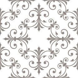 Odhams Press - Hobson Taupe RETile Decal, Clear Background - RETile decals can be used to accent or transform your existing ceramic, stone or glass tiles. They are easy to apply and can be removed in the future without leaving a sticky residue.