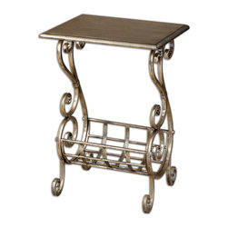 Uttermost - Lilah Silver Leaf Magazine Table - Lightly burnished silver leaf finish with subtle champagne Patina. Decorative, hand forged metal base. Bulbs included: No