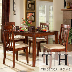 Tribecca Home - Tribecca Home Daphne Burnished Cherry 5-piece Mission Casual Dining Set - Update your dining room with this tan microfiber five-piece dining set. This set includes a table and four chairs. With its solid Asian wood frame and soft upholstery, this dining set will give your home a comfortable and stylish place to share a meal.