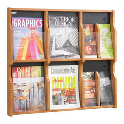 Safco - Safco Expose 6 Magazine 12 Pamphlet in Medium Oak Finish - Safco - Magazine Racks - 5703MO - Expose™ natural beauty and aid curiosity! Customize any unit with your choice of two wood finishes. Crystal clear plastic front panel provides a full view of materials in each pocket. Pre-drilled holes screws and anchors included for easy mounting. Decorative screw covers to match masonite backing are included. Removable dividers allow you to use each compartment to display a magazine or two pamphlets. Spark a natural instinct with exposure.