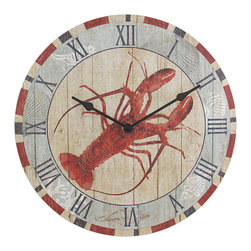 12 Inch Diameter Maine Lobster Kitchen Wall Clock Nautical - Made of fiberboard, this gorgeous 12 inch diameter battery powered wall clock features a nautical plank-board print, with a red Maine lobster in the center. It has roman numeral markers and black hands. The clock has a distressed look, with wear marks and printed scratches as part of the design. It runs on one AA battery (not included). This wall clock makes a great gift for lobster lovers, or anyone who loves the ocean.