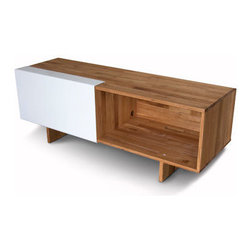 "Mash Studios - LAX Series Entertainment Shelf - LAX Series Entertainment Shelf  designed by MASH Studios    LAX Series Entertainment Shelf  by MASHstudios  At A Glance:       This versatile media console features a solid English Walnut Construction with a natural oil finish and one sliding white powder-coated aluminum panel. The entertainment center's reinforced, sturdy shelf supports a plasma TV on top while storing your DVD player and electronics inside. Two adjustable shelves (not shown) are included, and an integrated wire management slot keeps your power cords neatly organized. Cool props not included.  What's To Like:   Wood and white: the combination that makes us all week in the knees, with fluttering hearts and longing looks. ""I want that in my home,"" we all say. It's beautiful. We think this media console's sliding panel just cool - and its two large compartments are a great idea as well, since there are so many times when all you want is a big space to pu"