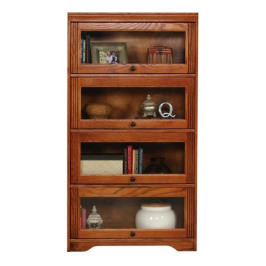 Eagle Furniture Manufacturers - Oak Ridge Lawyers Bookcase w 4 Glass Doors (Medium Oak) - Finish: Medium Oak. Four glass panel doors. Four fixed wood shelves. Designed with decorative molding and fluted detailing. Warranty: Eagle's products are guaranteed against material defects for one year from date of delivery to the dealer. Made in USA. No assembly required. Shelves: 31 in. W x 11.75 in. D x 11.75 in. H. 32.5 in. W x 13.25 in. D x 60 in. H (86.3 lbs.)The Oak Ridge collection combines American oak hardwood with updated contemporary styling. Heavy crown molding, sleek lines, fluted side molding, black brushed metal hardware, solid oak frames and solid oak recessed doors give this transitional collection a style all its own.