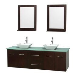 """Wyndham Collection - Centra Bathroom Vanity in Espresso,GN Glass Top,Pyra White Sinks,24"""" Mirs - Simplicity and elegance combine in the perfect lines of the Centra vanity by the Wyndham Collection. If cutting-edge contemporary design is your style then the Centra vanity is for you - modern, chic and built to last a lifetime. Available with green glass, pure white man-made stone, ivory marble or white carrera marble counters, with stunning vessel or undermount sink(s) and matching mirror(s). Featuring soft close door hinges, drawer glides, and meticulously finished with brushed chrome hardware. The attention to detail on this beautiful vanity is second to none."""