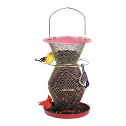 No-No Feeder - Red and Brass 3-Tier Standard Birdfeeder - No/No's Red and Brass 3 Tier Standard holds 3 pounds of black oil sunflower seeds which is held at 2 different levels by the even feed baffles. Feed 10 to 15 birds at one time.