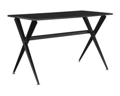 Safavieh - Chapman Desk - The light and airy silhouette of the black Chapman desk is a modern update of classic picnic and refectory tables. Its top appears to float on chic tapered crossed legs, and this sophisticated desk is finished in a sleek lacquer look finish.