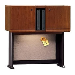 Bush Business - Overhead Storage Hutch w Fabric Covered Tackb - Add convenient overhead concealed storage to desk area. Accepts optional task lighting. Vacu-form, vinyl-clad door fronts are durable and care-free. Fabric-covered tackboard on back panel keeps work area organized