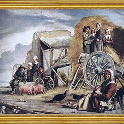 """Louis Le Nain-16""""x20"""" Framed Canvas - 16"""" x 20"""" Louis Le Nain The Cart or Return from Haymaking framed premium canvas print reproduced to meet museum quality standards. Our museum quality canvas prints are produced using high-precision print technology for a more accurate reproduction printed on high quality canvas with fade-resistant, archival inks. Our progressive business model allows us to offer works of art to you at the best wholesale pricing, significantly less than art gallery prices, affordable to all. This artwork is hand stretched onto wooden stretcher bars, then mounted into our 3"""" wide gold finish frame with black panel by one of our expert framers. Our framed canvas print comes with hardware, ready to hang on your wall.  We present a comprehensive collection of exceptional canvas art reproductions by Louis Le Nain."""