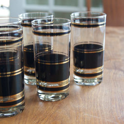 Signed Georges Briard Midcentury Highball Glasses by Aysis Vintage, Set of 5 - These vintage highball glasses have midcentury modern appeal in a crisp, geometric black and gold pattern. They are just what you need to complete a glamorous bar nook.