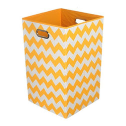 Modern Littles - Bold Orange Chevron Folding Laundry Basket - Keep laundry tidy, organized and add a pop of colorful decor to a room with this folding laundry bin. Perfect for the bathroom, closet or laundry room, it folds flat when not in use for easy storage, and the lightweight design features handles for effortless carrying.