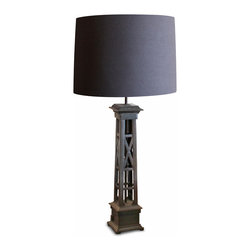 Kathy Kuo Home - Somerson Industrial Loft Vintage Gate Post Table Lamp - Welcoming you home as a garden gate post welcomes weary travelers, this rustic, forged iron table lamp sheds light from an end or side table.  Striking a strong silhouette, the matte dark brown finish lends an industrial edge to this lovely luminary.