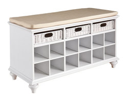 Holly & Martin - MacKenzie Entryway Bench, White - Finally conquer the mess that piles in your entryway and on your table or counters. Stylish yet soft-spoken, this shoe bench provides the perfect solution to an untidy entryway or cluttered bedroom.