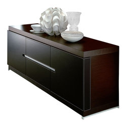 Rossetto - Interni City Buffet - The ecoleather doors and drawers provide the  in. wow factor in.  in this Rossetto Interni City Buffet. Perfectly centered on the face of the cabinet is a narrow horizontal aluminum drawer pull that reveals an impressive storage space. This darker grain finish cabinet is complemented with the contrasting matte hardwood finish. Note the lighter stitching in the ecoleather for an additional assertive touch. Narrow lighter feet complete the look on this versatile cabinet. This sleek modern buffet works well in a dining room or living room.