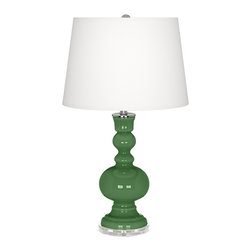 """Color Plus - Contemporary Garden Grove Apothecary Table Lamp - This apothecary style Color + Plus™ glass table lamp will infuse your decor with brilliant color and style. This beautiful Garden Grove designer lamp is hand-crafted by experienced artisans in our California workshops. It stands on a clear base and is topped with a stylish white linen shade. Designer Garden Grove glass table lamp. White linen drum shade. Clear base. Maximum 150 watt or equivalent bulb (not included). On/off switch. 30"""" high. Shade is 14"""" across the top 16"""" across the bottom 11"""" high.  Garden Grove glass table lamp.  White linen drum shade.  Lucite base.  Maximum 150 watt or equivalent bulb (not included).  On/off switch.  30"""" high.  Shade is 14"""" across the top 16"""" across the bottom 11"""" high."""