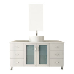 "JWH Imports - 47.25"" Grand Lune White Single Vessel Sink Modern Bathroom Vanity Cabinet - Go for the grand dame of contemporary design with a chic vanity and sink. Two sets of drawers give you plenty of space for organization in addition to a spacious storage area underneath the sink. Choose from several different wood finishes, countertop materials and sinks for your ideal design. All that's left for you to do is pick out a modern faucet to complete the look."