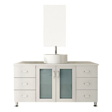 JWH Imports - Grand Lune White Single-Vessel Sink Modern Bathroom Vanity Cabinet - Go for the grand dame of contemporary design with a chic vanity and sink. Two sets of drawers give you plenty of space for organization in addition to a spacious storage area underneath the sink. Choose from several different wood finishes, countertop materials and sinks for your ideal design. All that's left for you to do is pick out a modern faucet to complete the look.