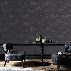 Graham & Brown - Concrete Wallpaper - An easy living plain design giving the effect of concrete, suitable for use on any wall and the addition of the flowing script brings the design right up to date. For a touch of drama, the charcoal script provides a fantastic feature design.