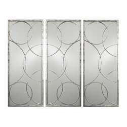 Arteriors Home - Arteriors Home Nikita Silver Leaf Mirror - Arteriors Home 2352 - Arteriors Home 2352 - Rectangular iron accent mirror with silver leaf finish features geometric overlay of overlapping circles over plain mirror. Can be hung vertically or horizontally. Shown as a grouping, but sold individually.