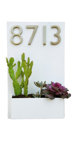 Urban Mettle - Metal Wall Planter and Address Plaque, White, With Numbers - Welcome Home. This modern wall planter & address plaque adds flair and style to the facade of your home with sleek satin nickel street numbers. Looks particularly great when planted with colorful succulents!