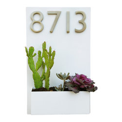 "Urban Mettle - Metal Wall Planter & Address Plaque - 20"" x 12"" Vertical, White, With Numbers - Welcome Home. This modern wall planter & address plaque adds flair and style to the facade of your home with sleek satin nickel street numbers. Looks particularly great when planted with colorful succulents!"
