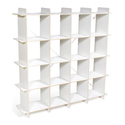 "Quark Enterprises - 16-Cubby Organizer, White - A new addition to our Cubby Organizer line, the 16 Cubby Organizer is sized right in the Goldilocks Zone: ""Just Right"". Like our other storage furniture options, the 16 Cubby Organizer is meant to be used with our kids' storage bins. You can use it to store books and clothes or fill the bins with art supplies and other knick knacks. With so much space to put things your kids' rooms will always be neat and tidy."