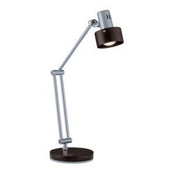 Lite Source - Desk Lamp, Silver/Dark Walnut Shade, E17 Type R 40W - Desk Lamp, Silver/Dark Walnut Shade, E17 Type R 40W