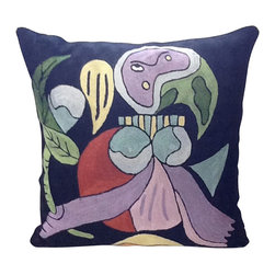 Art Shapes Contemporary Pillow - Shake things up on your sofa with this remarkable modern art repro. Cool, colorful silk embroidery makes a refreshing change from stripes and solids.
