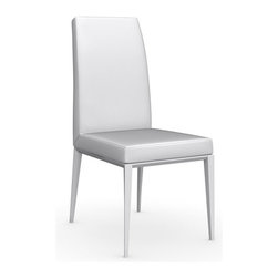Calligaris - Bess Leather Chair, Matt Optic White Frame, Optic White - With its sleek, sophisticated lines, this Italian-made leather chair has no trouble fitting in. You can use it around your dining table, in your office or as extra seating when unexpected guests arrive.