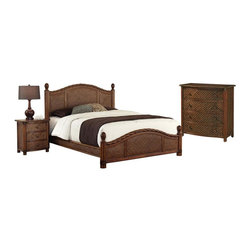 HomeStyles - Queen Bed, Night Stand and Chest - Design features natural rattan woven wicker and mahogany solids. Refined cinnamon finish. Headboard and footboard contain interior padding for additional comfort. Leather-wrapped accents. Bed: 65.25 in. W x 89 in. D x 53 in. H. Night Stand: 21.25 in. W x 17.75 in. D x 24.75 in. H. Chest: 36 in. W x 18 in. D x 36 in. HMarco Island Queen Bed, Night Stand, and Chest by Home Styles is island inspired displaying a rich blend of materials including natural rattan woven wicker, mahogany solids, and veneers in a refined cinnamon finish.  The design encompasses a twisted rattan edging on the Queen Headboard and Footboard, with intricate natural woven rattan panels on all four sides, solid mahogany bed posts and beautifully carved pineapple finials. The footboard adorns leather strapping accents around the solid mahogany posts. This is a complete Queen bed including headboard, footboard, and rails. Headboard and footboard contains interior padding for additional comfort. The night stand features three large storage drawers. Chest features four large storage drawers; top drawer is felt-lined. All drawers have easy-glide side mounted metal guides. Matching sculpted palm mahogany hardware. Set includes bed, night stand, and chest. Assembly required.