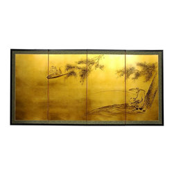 Oriental Unlimted - 36 in. Tall Gold Leaf Fishing for Life Wall A - Screens may vary slightly in color. Evoke images of the Orient with this soft and beautiful, hand-painted gold leaf rendition of 2 men fishing in a river. Subtle and beautiful hand-painted wall art for a fraction of the cost of a comparable print. Large hand-painted ink and watercolor silk screen. Song dynasty (10th century China) brush art style. Can be displayed as a privacy screen. Can be folded partly to stand upright on a table or floor. Crafted from silk covered paper, glued over 4 side-by-side lacquered wood frames. Matted with a fine Chinese silk brocade border. Comes with lacquered brass geometric hangers for easy mounting. Note that no 2 renderings are exactly the same. 72 in. W x 36 in. H