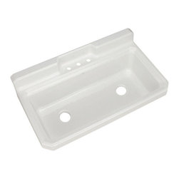 Kohler - Kohler Harborview White 2-hole Cast Iron Utility Sink - This Kohler Harborview cast-iron utility sink features two drain holes that allows for quick release of the water. The large size of the sink provides an excellent place to wash clothes or water plants.