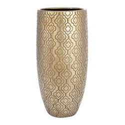 iMax - Harper Gold Vase - This eastern inspired gold vase can give your room a splash of eye catching drama with is intricate details and old finish.