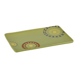 Rachael Ray - Rachael Ray Stoneware 12.75 in. by 8.25 in. Circles & Dots Rectangular Serving P - Shop for Plates and Dishes from Hayneedle.com! The Rachael Ray Stoneware 12.75 in. by 8.25 in. Circles & Dots Rectangular Serving Platter - Green brings fun to the table whether you're serving your favorite dish at a dinner party or using it for everyday meals. Beautifully hand-painted in warm rustic colors this rectangular serving platter combines style and function with a clever shape that is easy to hold. Extremely versatile you can use this platter for passing sugar cookies at a holiday gathering serving appetizers during a Sunday football party or serving a delicious chipotle salmon at dinner. This stoneware serving platter is non-reactive to foods and holds heat so your food stays warm. Oven safe to 250 degrees fahrenheit as well as microwave and dishwasher safe this serving platter is the perfect complement to your dishes. About Rachael RayThis collection of fun functional colorful cookware is inspired and endorsed by TV personality Rachael Ray. Express yourself through your cookware with these truly unique pieces made with high-quality materials like cast iron and bright enamel exteriors. These hard-working pieces are perfect for all types of cooks from casual home users to commercial chefs and you'll love the way they look in your kitchen.