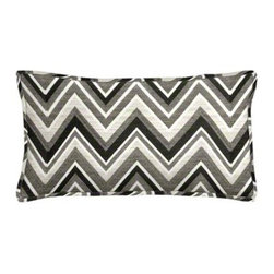 "Cushion Source - Sunbrella Fischer Graphite Outdoor Lumbar Pillow - The 20"" x 12"" Sunbrella Fischer Graphite Outdoor Lumbar Pillow features geometric chevron pattern in black, white, and shades of gray."