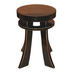 Black Lacquered Eb Table - The design and lines of these tables are symbolic of good fortune in Chinese calligraphy. Each table is hand lacquered with exposed wood rubbed edges.