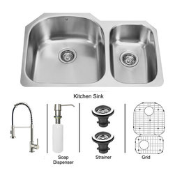 Vigo Industries - All in One 31 in. Undermount Stainless Steel Kitchen Sink, Faucet Set - Add some sophistication to your kitchen with a VIGO All in One Kitchen Set featuring a 31 in. Undermount sink, faucet, soap dispenser, matching bottom grids and strainers. The VG3121L double bowl sink is manufactured with 18 gauge premium 304 Series stainless steel construction with commercial grade premium satin finish. Fully undercoated and padded with a unique multi layer sound eliminating technology, which also prevents condensation. All VIGO kitchen sinks are warranted against rust. Required interior cabinet space: 34 in. Kitchen sink is cUPC and NSF-61 certified by IAPMO. All mounting hardware and cutout template provided for 1/8 in. reveal or flush installation. The VG02001ST Kitchen faucet features a dual function spiral Pull-Out spray head for aerated flow or powerful spray, and is made of solid brass with a stainless steel finish. Includes a spray face that resists mineral buildup and is easy-to-clean. High-Quality ceramic disc cartridge. Retractable 360-Degree swivel spout expandable up to 30 in. Single lever water and temperature control. All mounting hardware and hot/cold waterlines are included. Water pressure tested for industry standard, 2. 2 GPM Flow Rate. Standard US plumbing 3/8 in. connections. Faucet height: 18 1/2 in. Spout reach: 9 1/2 in. Kitchen faucet is cUPC, NSF-61, and AB1953 certified by IAPMO. Faucet is ADA Compliant. 2-hole installation with soap dispenser. Soap dispenser is solid brass with an elegant stainless steel finish and fits 1 1/2 in. opening with a 3 1/2 in. spout projection. Matching bottom grids are Chrome-Plated stainless steel with vinyl feet and protective bumpers. Sink strainers are made of durable solid brass in chrome finish. All VIGO kitchen sinks and faucets have a Limited Lifetime Warranty.