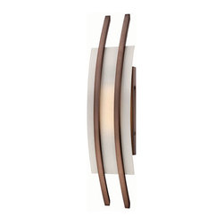 Nuvo Lighting - Trax Hazel Bronze One-Light LED Wall Sconce w/ Frosted Glass - - Twin ribs of hazel bronze support a gently curved pane of frosted glass, creating an elegant, eye-catching new sconce designed to complement any decor.   - One LED - KolourOne Motivation Module Bulb Included.   - Color Temperature: 2700K (Warm).   - Lumens: 290.   - UL listed and ADA compliant.   - Energy Saver. Nuvo Lighting - 62/122