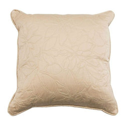 Beige Pillow With Floral Embroidery - This plush beige pillow is adorned with floral embroidery. Great for dressing up a bed or sofa.