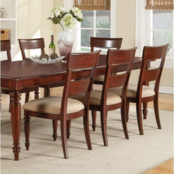 Olmsted Upholstered Dining Side Chairs - Set of 2 - With its casual, rustic take on Louis Philippe design, the Olmsted Upholstered Dining Side Chairs - Set of 2 combines a relaxed feel and quiet sophistication to make a charming addition to any upscale dining space. Generously proportioned, with comfortable, upholstered seat and supportive back, these chairs will envelop you and your guests such luxurious comfort that you will find yourself lingering over your plate longer than usual! Sturdily constructed of select hardwoods with cherry and primavera veneers, this set of side chairs sports a nutmeg finish that will add warmth to your dining area.About Wynwood FurnitureAt Wynwood, designing unique and useful furniture is the goal. The company's own fashion consultants scour the globe for distinctive woods and eye-catching designs before bringing their findings back home to talented designers who set about creating beautiful pieces. The designs are then moved into production, where Wynwood specializes in ensuring all collections are both stunning and useful, giving every piece a thorough going-over that results in inimitable style, impeccable construction, and unequaled functionality.
