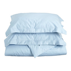 "Cotton Rich 600 Thread Count Solid Twin/Twin XL Duvet Cover Set, Light Blue - Our 600 Thread Count Cotton Rich Duvet Cover set is a superior quality blend of 55% Cotton and 45% Polyester making these duvets soft, wrinkle resistant, and easy to care for. Set includes one duvet cover 68""X90"" and one pillow-sham 20""x26""."