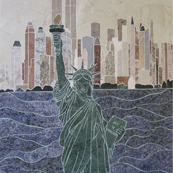 Lady Liberty handcrafted marble mural -